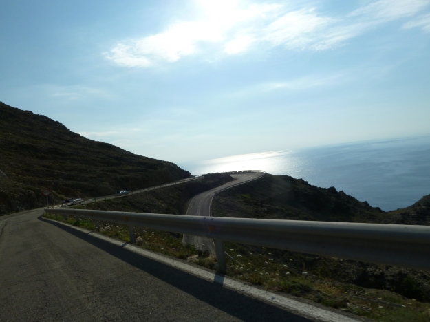 Driving off up along the Med.
