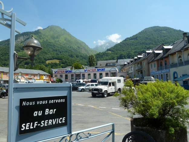 The Col du Tourmalet range viewed from the central square of Luz Saint Sauveur