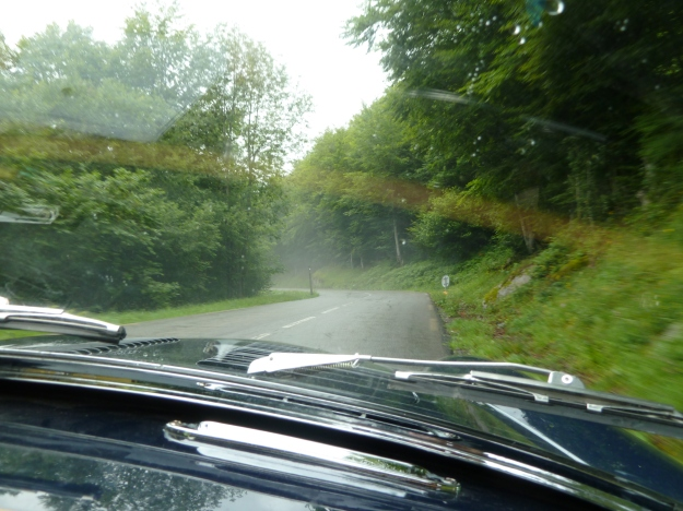 Descending through mist in the Vallee D`Aspe.  A lovely place made even more exotic by the drifting mist.