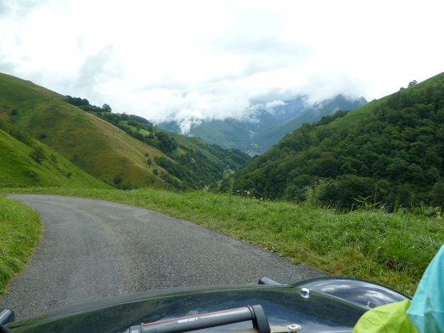 Climbing towards the Col de Soudet (5000ft).  This is the D441, a main road through the Pyrenees! It is virtually a single track, no barriers, no road markings, but boy is it exciting to drive!  A great discovery Stuart!