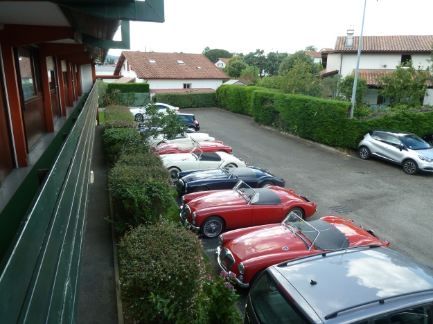 Parked up at the Hotel Campanile Hendaye . Engines cooling down in the car park, drivers cooling down in the bar.
